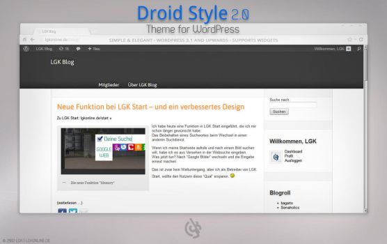 Droid Style 2.0 Theme for WordPress by lgkonline