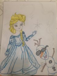 Elsa and Olaf poster for my cousin by nightangel5431