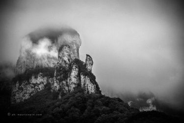 Procinto Mountains in the fog at dawn by mixinart