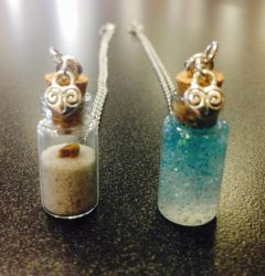 Sand and Ocean Bottle Charms by BriPace97