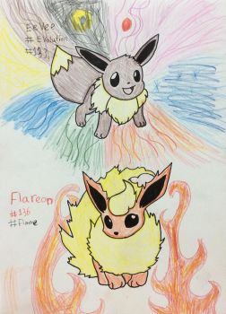 Eeveelutions and Flareon by Minkiepieisbadass