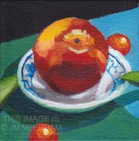 Apple In China Dish by JMNeedhamArt