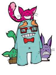 Nerdy Monster With Cats by my-little-native