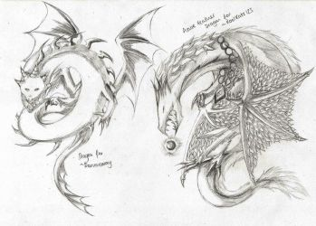 Free Dragon Sketches 04 by LightEndDragon