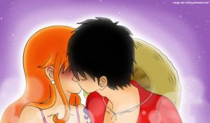 Luffy x Nami fanart kiss by orange-star-destiny