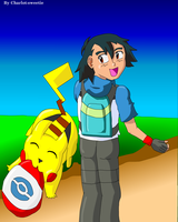 Ash and Pikachu playing by charlot-sweetie