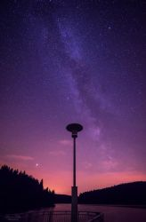the street lamp and the milky way. by LunaFeles