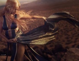 Desert Dance, Blonde Fantasy Woman Art, DS Iray by shibashake