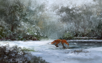 Fox by the pond by PyriteKite