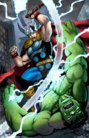 Thor v. Hulk commission by Dan-the-artguy
