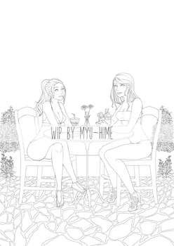 WIP (Linework): Melissa and Katy by Myu-Hime