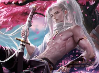 Cherry blossom bishounen .nsfw optional. by sakimichan