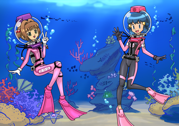 commission - Sakura and Dawn swimming by Andres2610