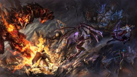 On Fire - battle at Sky temple by Tung-Monster