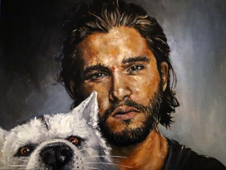 Jon Snow and Ghost the wolf, oil painting by DoodleWithGlueGun