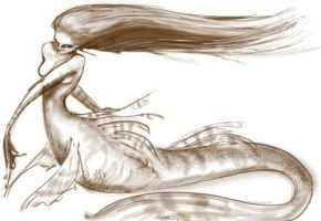 mermaid sketch by AvantFae