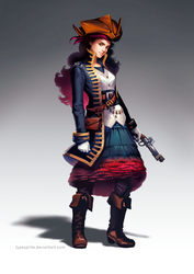 Female pirate character design by typesprite