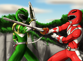 Green Ranger Vs Red Ranger redux by Odin787