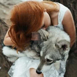 Girl and wolf by thefirebomb