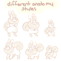 Different Flufferbun Anatomy Styles by blushbun