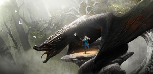 Daenerys and Drogon - Game of Thrones Fan Art by nell-fallcard