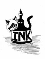 Inktober day 7 Shy Ink Kitten by SaphireNightmare8991