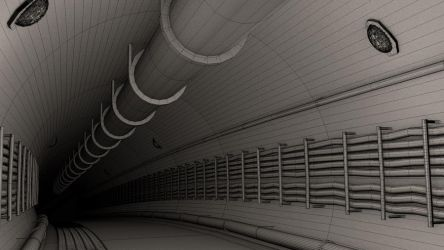 Dark tunnel - Clay/Wireframe by omercan1993