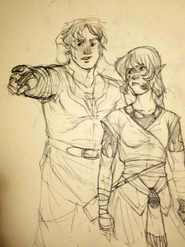 Chubby!Link and a Zelda by Mudora