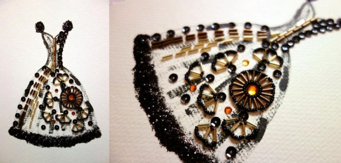 Paper Beads and Glitter Dress - Black by pinkythepink