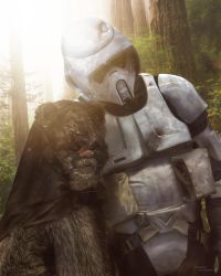 Scout Trooper and Ewok by TDSOD