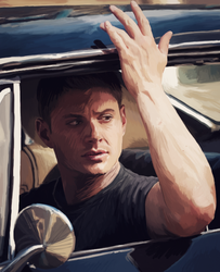 Dean in the Impala by LockwoodE3