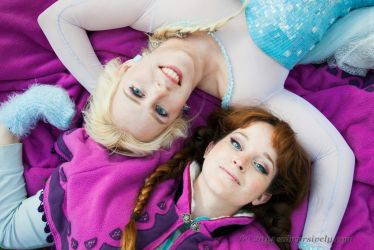 Elsa and Anna: Up or Down Together by RoxannaMeta