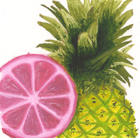 Pink lemon with a pineapple by Brantonisme