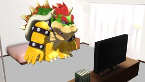 (MMD x SML) Bowser watching Charlie and Friends by Hyper-Mario-64