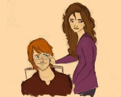 Ron and Hermione by MioneBookworm