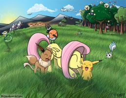 Fluttershy In the Pokemon World by rofljay