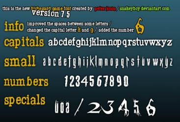 Resident Evil / Biohazard Game Font version 7.5 by Snakeyboy