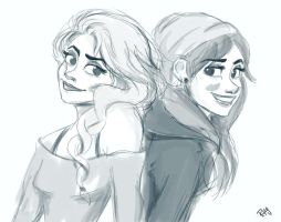 Modern Elsa and Anna by Blueberries-in-July
