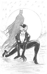 Catwoman and Batman pencil drawing by RNABrandEnt