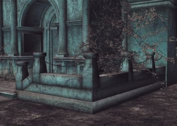 Gothic Courtyard Background by Lil-Mz