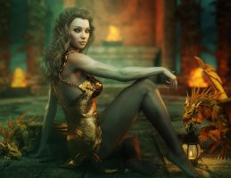 Beautiful Fantasy Woman + Gold Dragons, Iray Image by shibashake