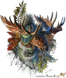 A moose with a beanie by Sunima