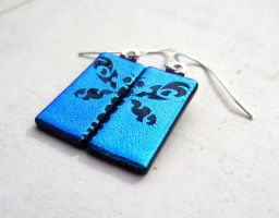 Fused Glass Split Design Dragonfly Earring 2 by FusedElegance