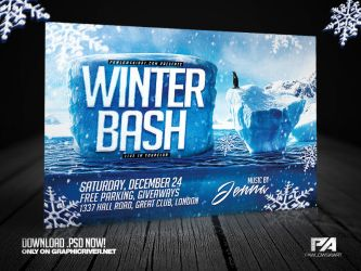 Winter Bash Horizontal Flyer Template by pawlowskiart