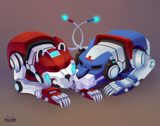 blue and red lions Voltron by Re-RD-Re