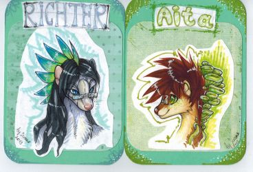Badge things for Richter and Aita by Suane