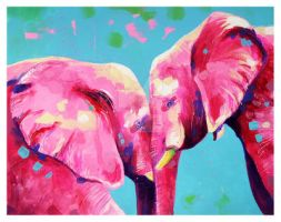 Pink Elephants by TooMuchColor