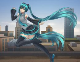 Rooftop Miku by Tropic02