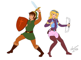Link and Zelda cartoon- Fight! by Laurence-L