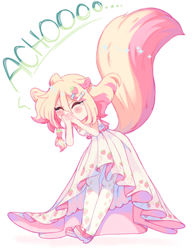 Chiyoko is now a sneezing squirrel [OC] by Din-yin